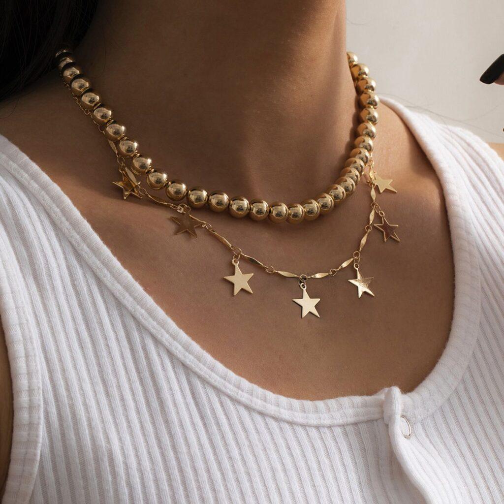 Star Pendant Shotball Chain Necklace