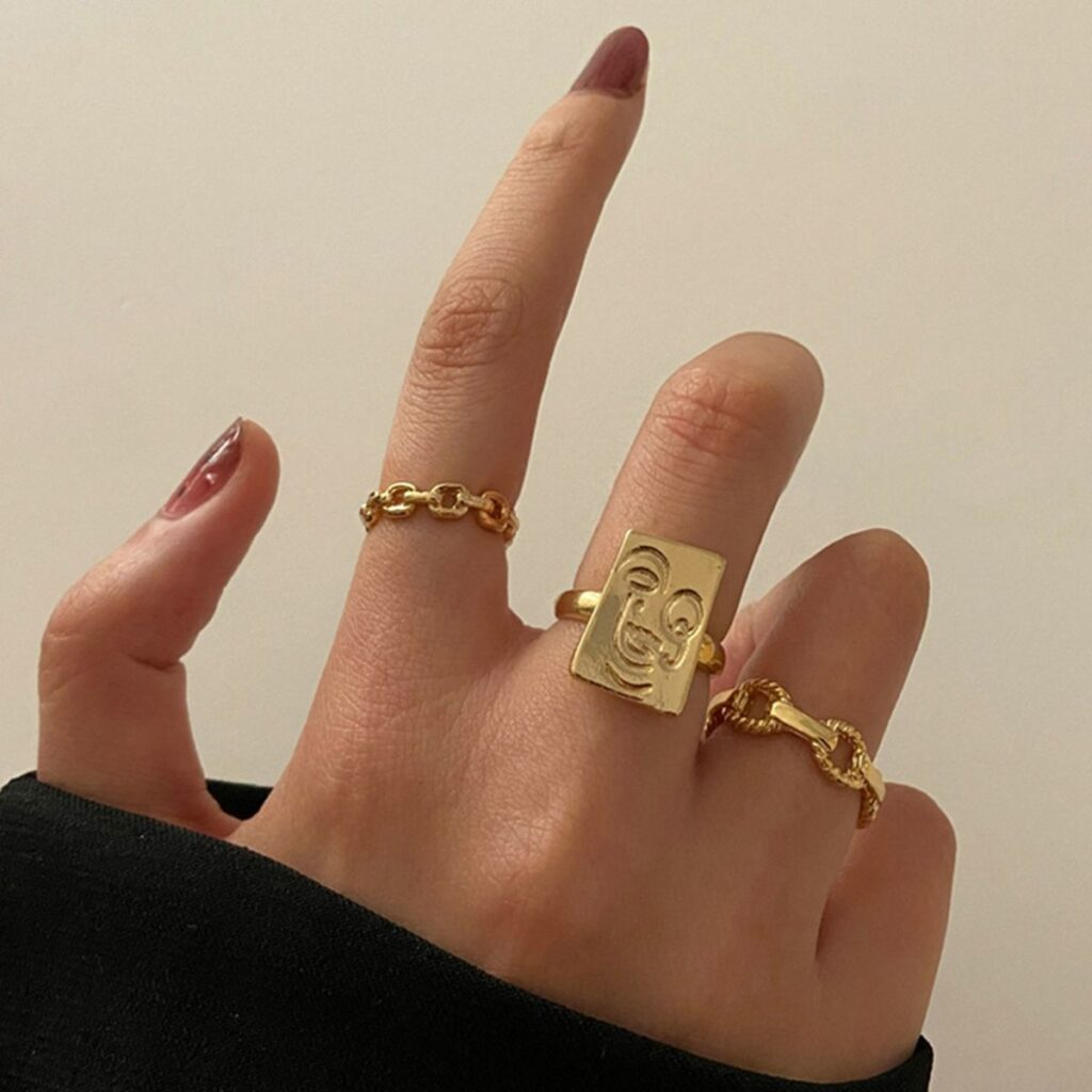 Punk Square Brand Face Chain Ring